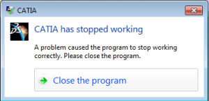 catia has stopped working