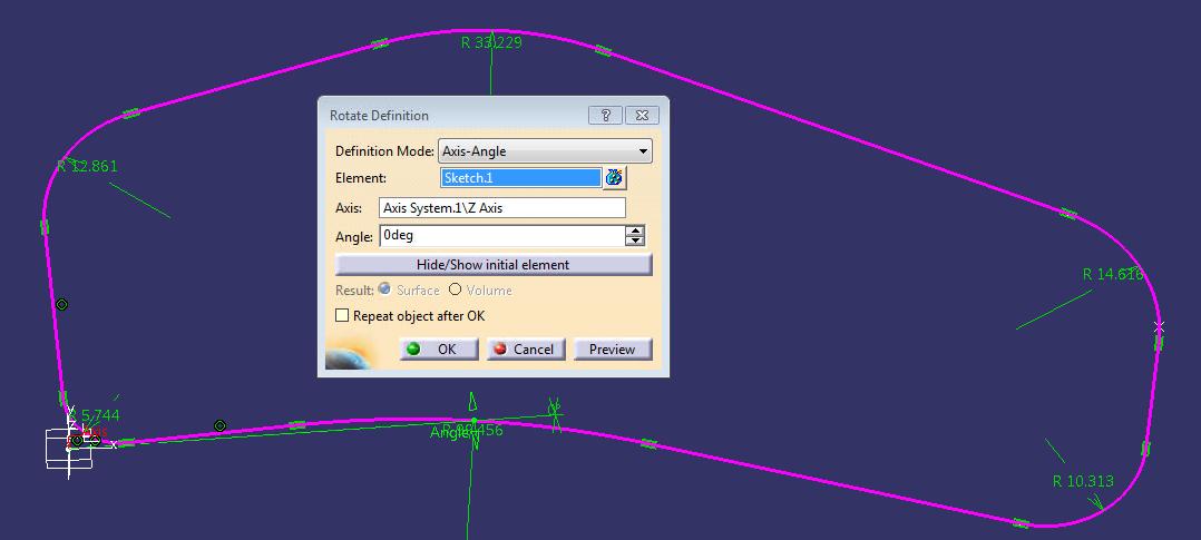material yield 2 - rotate sketch in catia